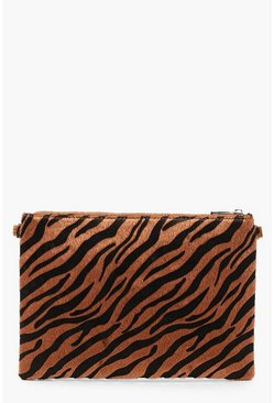 Womens Natural Faux Zebra Print Clutch With Chain