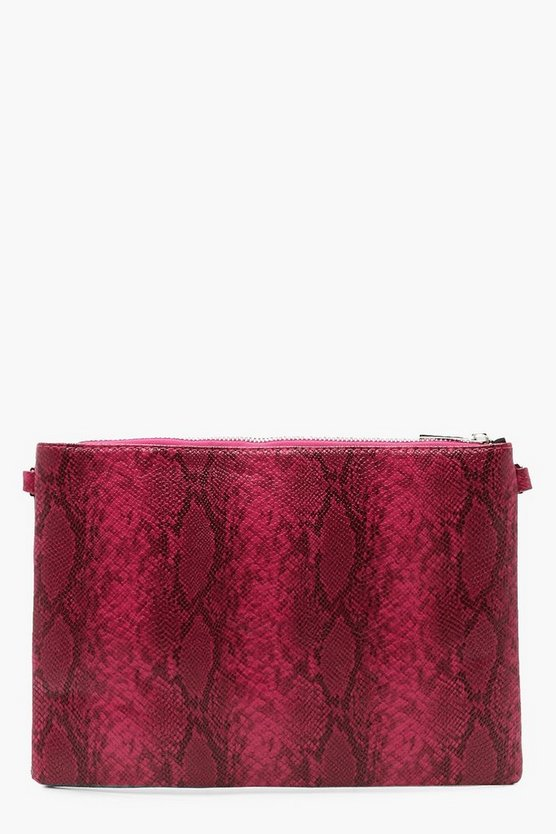 Faux Python Snake Clutch With Chain, Pink, Donna