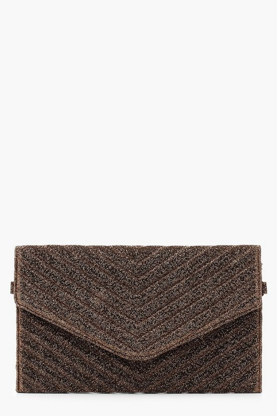 Womens Bronze Glitter Quilted Clutch And Chain