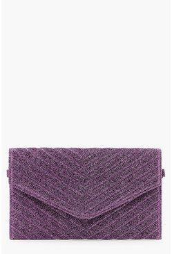 Womens Purple Glitter Quilted Clutch And Chain