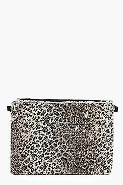 Sequin Leopard Ziptop Clutch And Chain