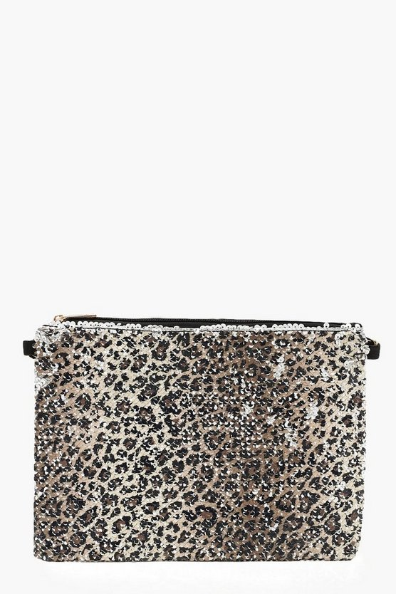 Womens Natural Sequin Leopard Ziptop Clutch And Chain