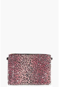 Womens Pink Sequin Leopard Ziptop Clutch Bag