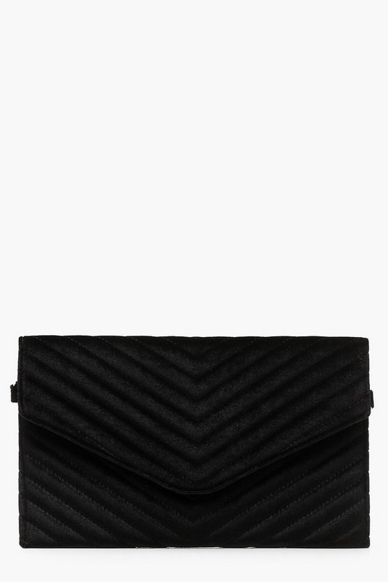 Quilted Velvet Clutch And Chain, Donna