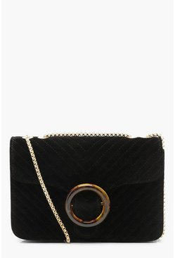 Womens Black Velvet Quilted Resin Ring Cross Body Bag