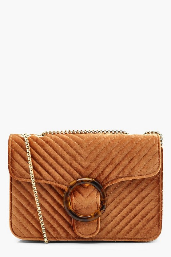 Velvet Quilted Resin Ring Cross Body