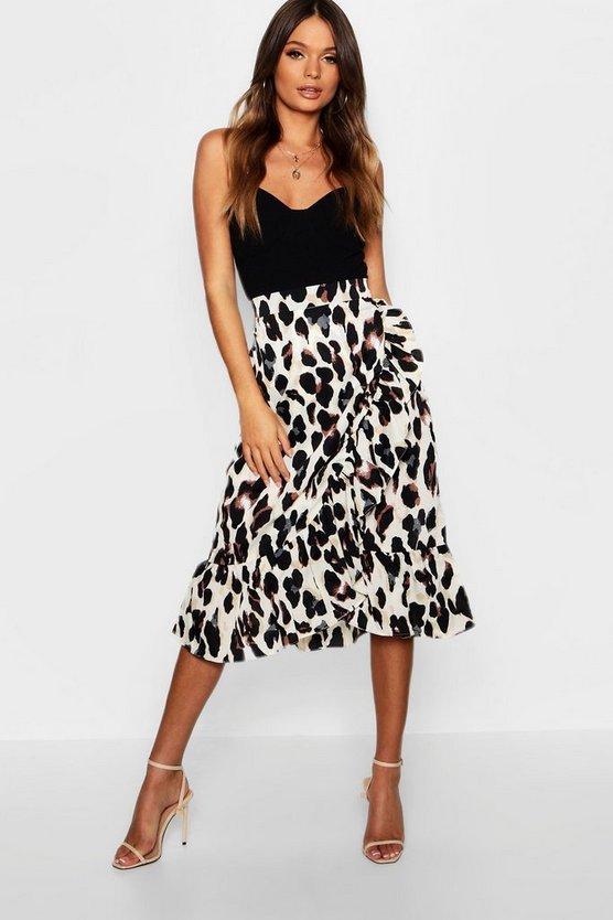 Satin Leopard Ruffle Wrap Midi Skirt Satin Leopard Ruffle Wrap Midi Skirt by Boohoo