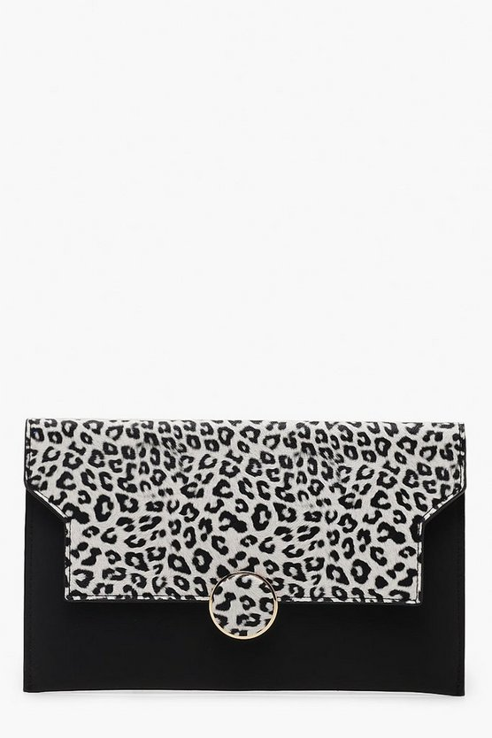 Womens Black Colour Pop Leopard Flap Clutch