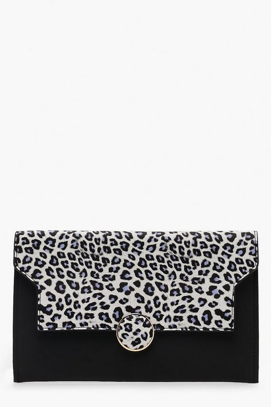 Womens Cobalt Colour Pop Leopard Flap Clutch