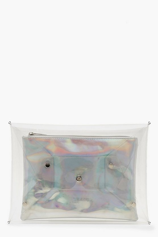 Holographic Insert Clear Clutch