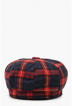 Womens Red All Over Check Beret