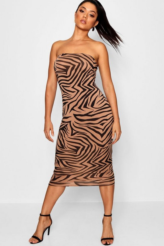 Womens Black Bandeau Zebra Print Bodycon Dress