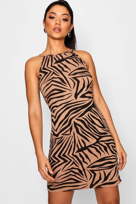 High Neck Zebra Bodycon Dress