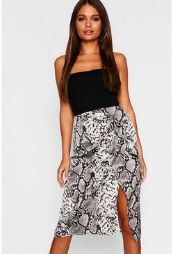 Womens Grey Snake Print Satin Wrap Tie Midi Skirt