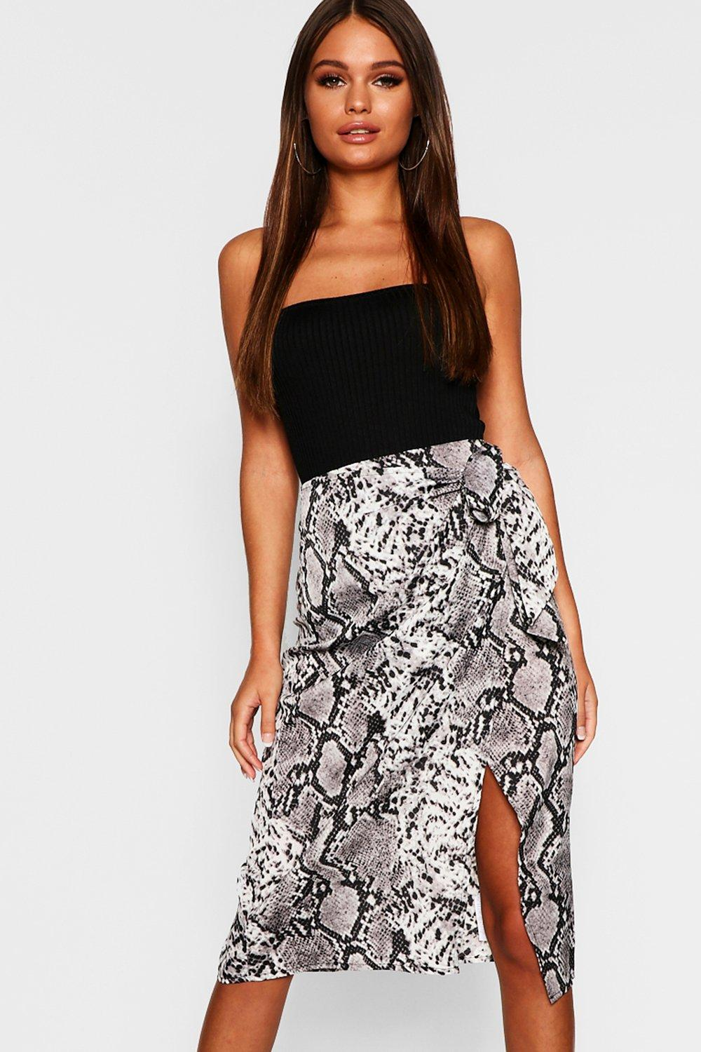 choose best purchase genuine high fashion Snake Print Satin Wrap Tie Midi Skirt | Boohoo