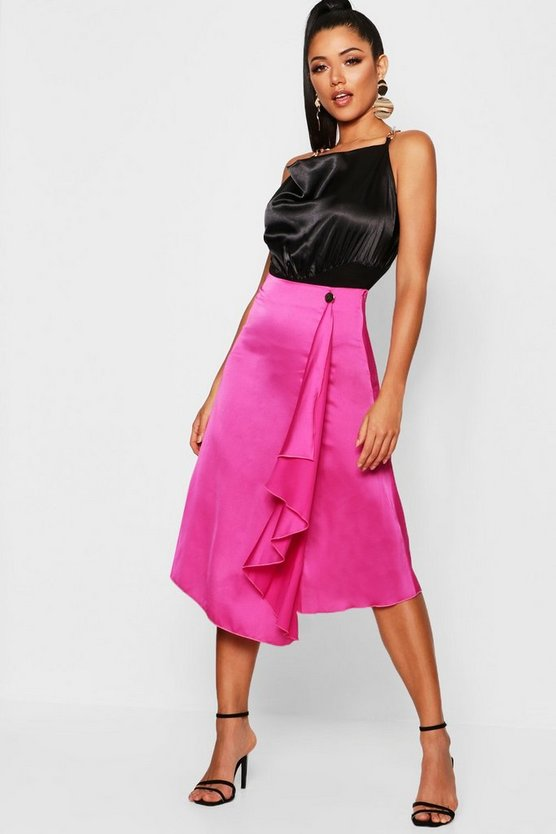 Womens Pink Waterfall Satin Midi Skirt