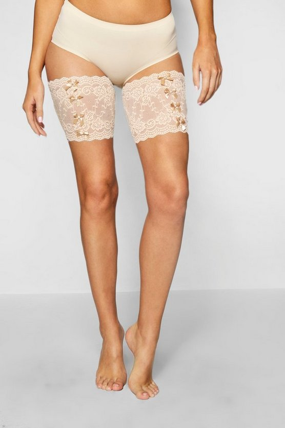 Womens Nude Bow Detail Lace Chaffing Bands