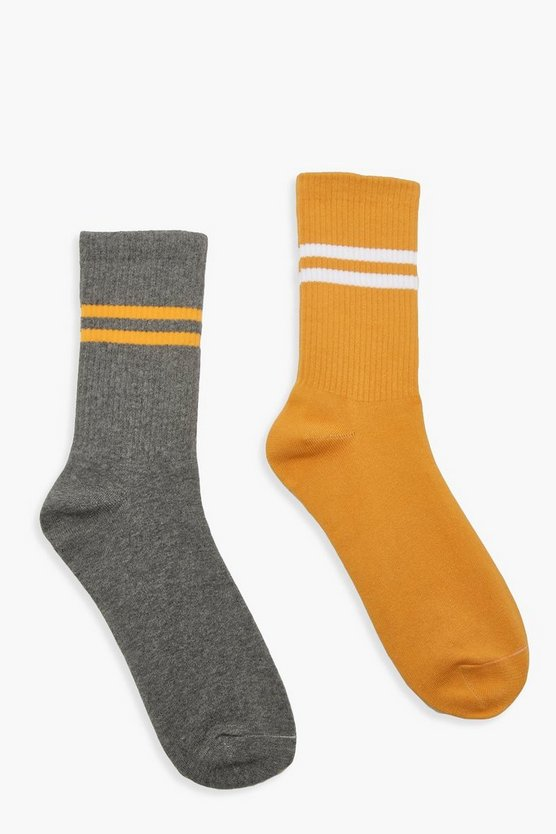 Grey And Mustard Sport Stripe 2 Pk Socks