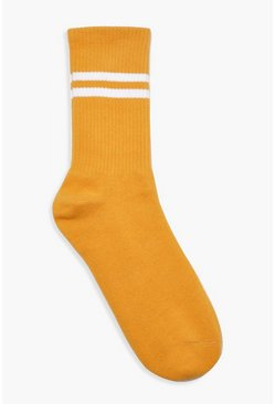 Womens Mustard Sports Stripe Ankle Socks