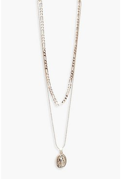 Womens Rose gold Sovereign And Chain Layer Necklace