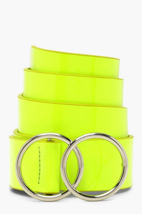 Womens Lime Neon Double Ring Belt