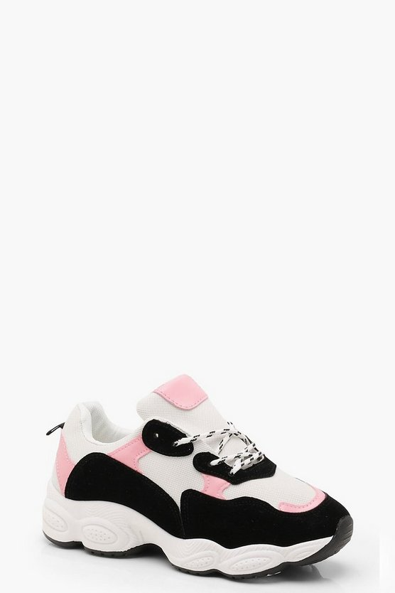 Womens Pink Colour Block Chunky Trainers