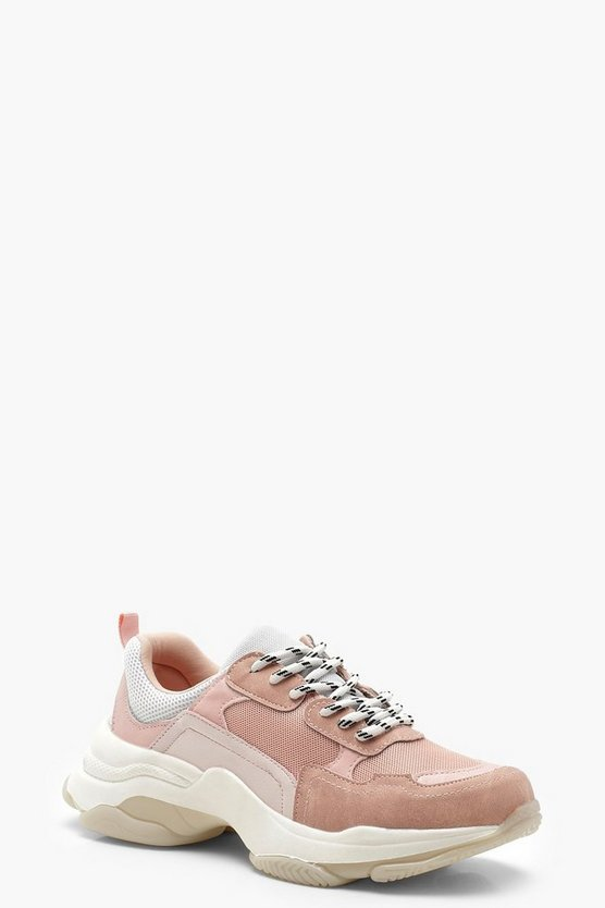 Pastel Chunky Trainers, Pink, DAMEN