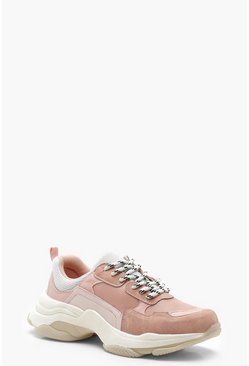 Womens Pink Pastel Chunky Trainers