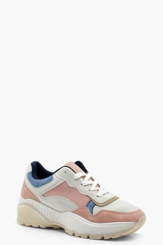 Pastel Panel Chunky Trainer, Pink, Donna