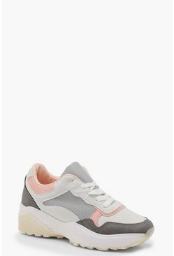Womens Grey Colour Block Chunky Trainer