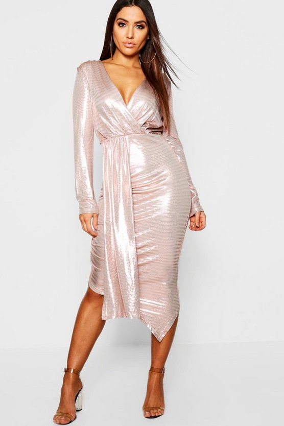 Metallic Midi Wrap Dress