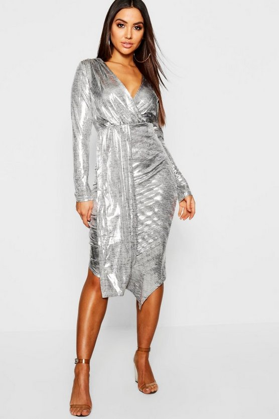 Silver Metallic Midi Wrap Dress
