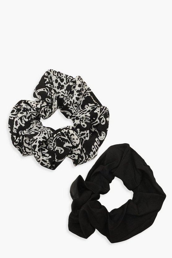 Paisley Print Two Pack Scrunchies