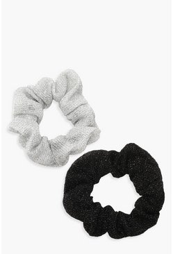 Womens Multi Sparkly Glitter 2 Pack Scrunchies