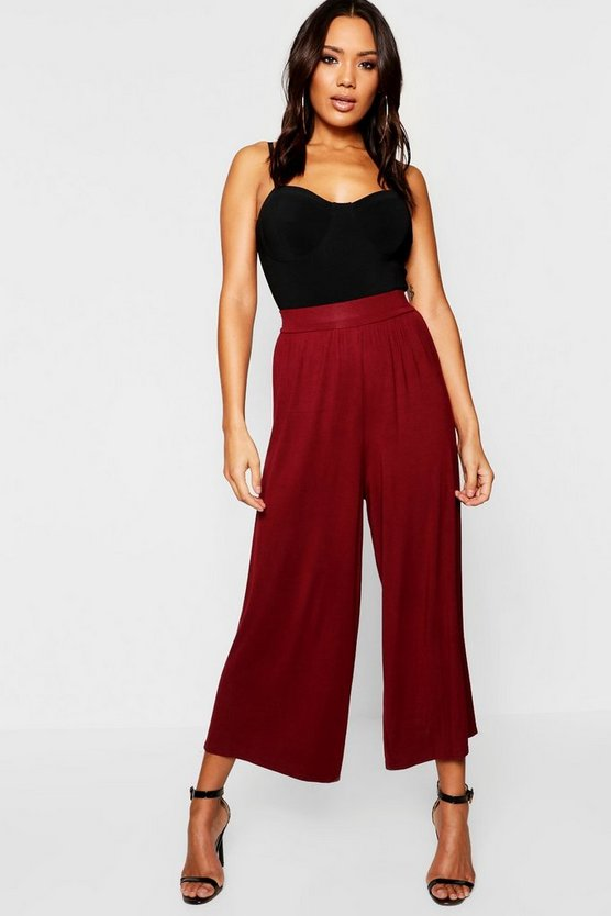 Womens Berry Jersey Wide Leg Culotte