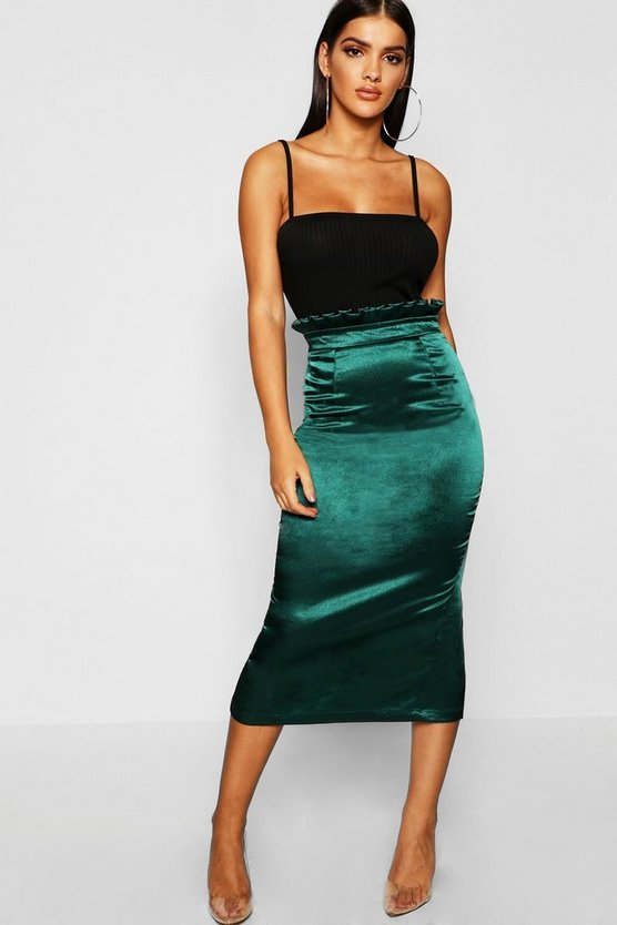 Womens Emerald Paperbag Waist Satin Midaxi Skirt