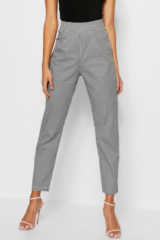 Woven Dogtooth Slim Fit Trousers