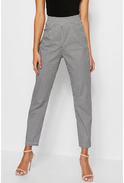 Woven Dogtooth Slim Fit Trousers, Black, Donna