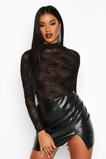 Womens Black Spider Web Mesh Halloween Bodysuit