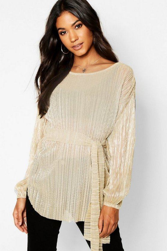 Metallic Plisse Oversized Long Sleeve Top