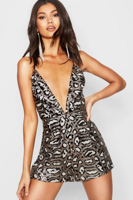 Leopard Sequin Strappy Playsuit