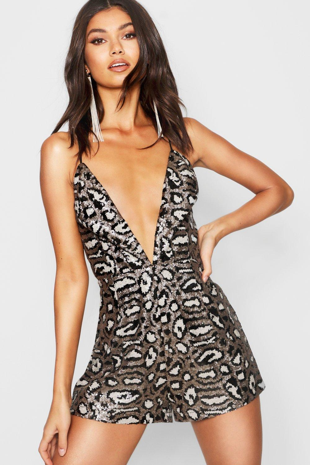 Strappy Sequin silver Leopard Sequin Playsuit Leopard CYaa8q