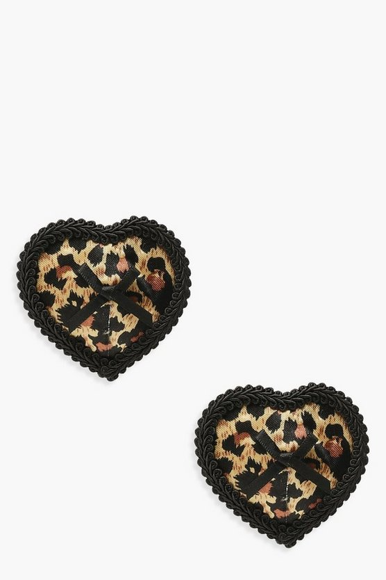 Womens Brown Leopard Nipple Covers