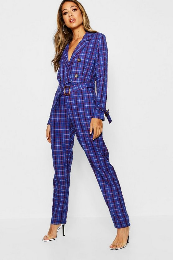 Tartan Check Belted Collar Jumpsuit
