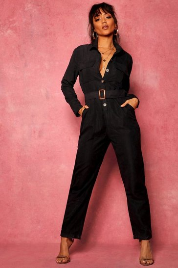Womens Black Suedette Utility Cargo Belted Jumpsuit