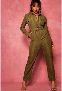 Khaki Suedette Utility Cargo Belted Jumpsuit