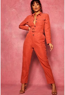 Rust Suedette Utility Cargo Belted Jumpsuit