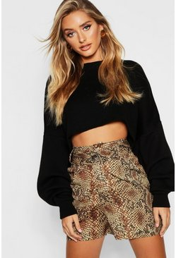 Womens Rust Satin Snakeskin Button City Shorts