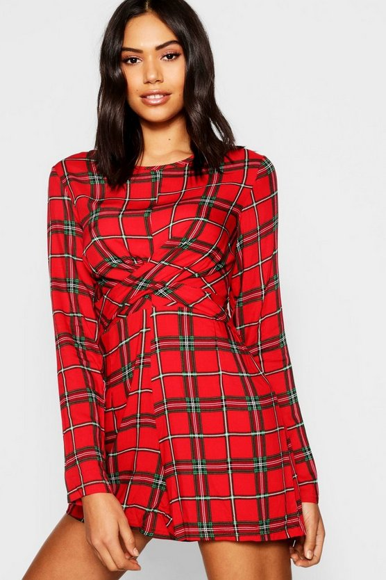 Red Tartan Twist Front Playsuit