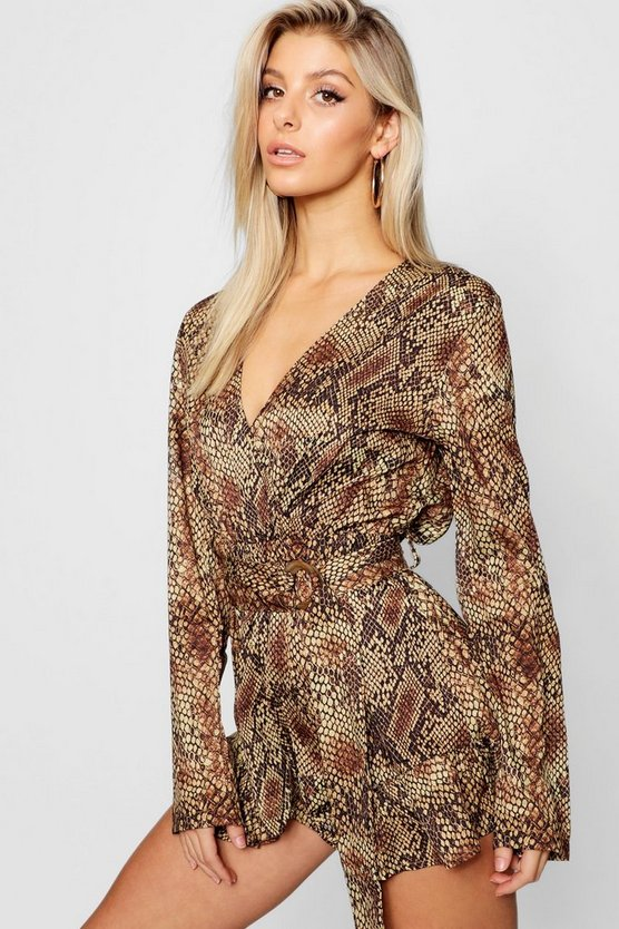 Satin Snakeskin Wrap Tortoise Shell Buckle Frill Playsuit